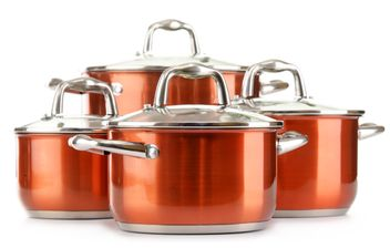 Set of Stainless Steel Pots Red